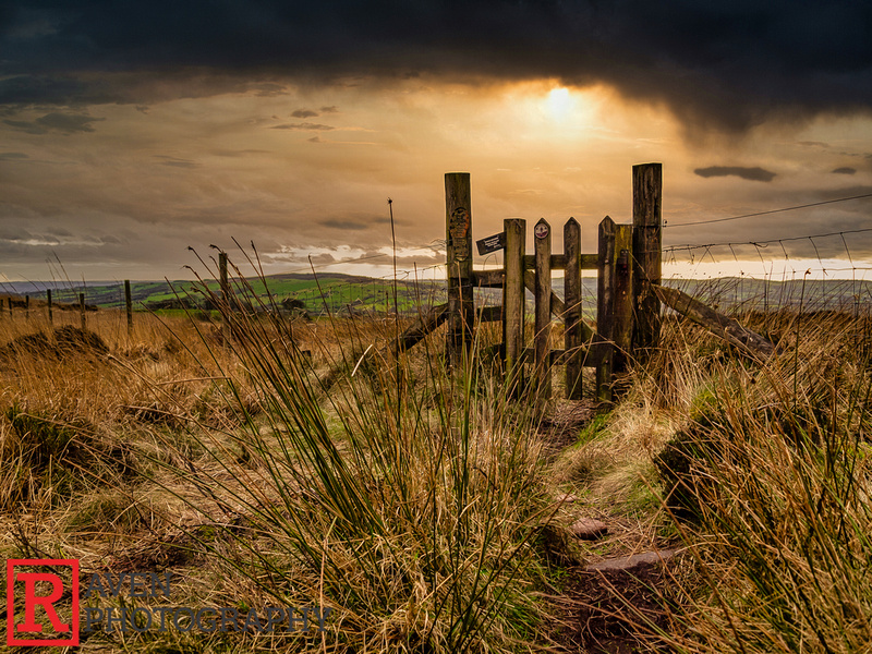 Sunset over a gate, The Roaches, The Peak District